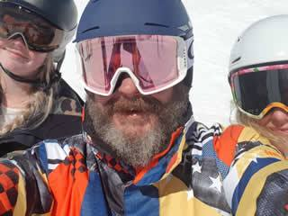 Paul up Whakapapa snowboarding